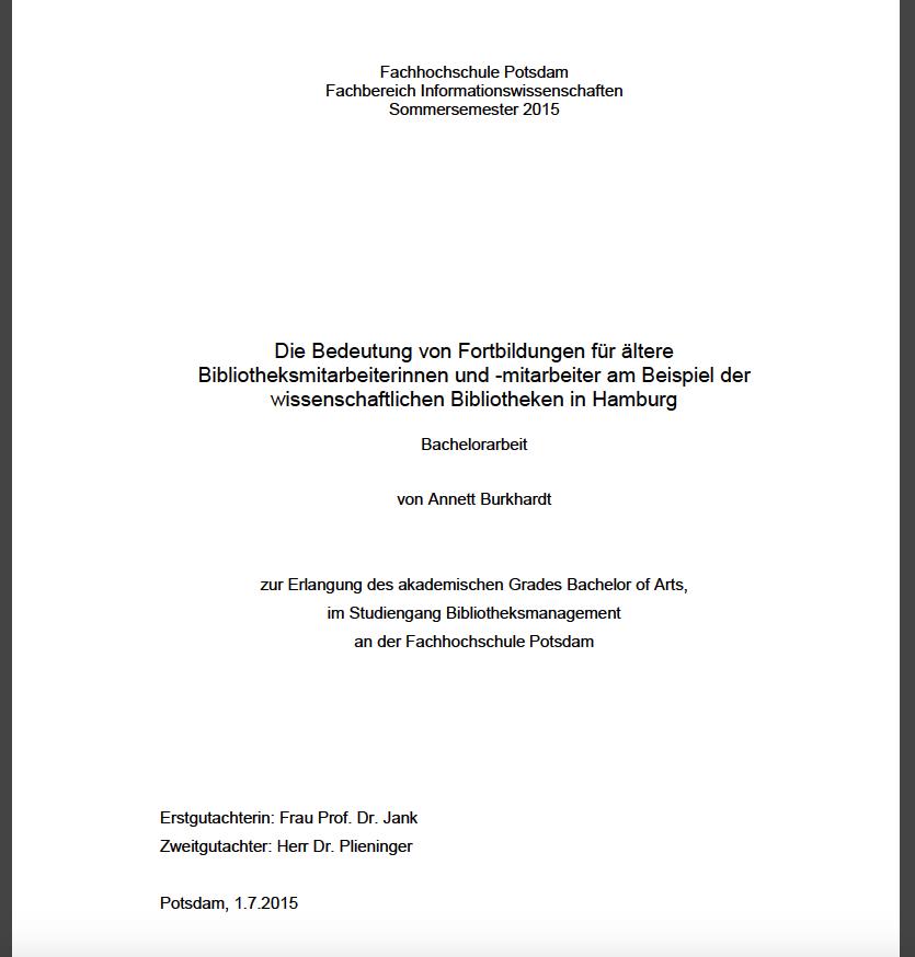 Titelblatt Bachelor Annett Burkhardt