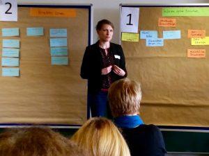 Blitzlichtrunde und Vorstellung der World-Café-Workshops (hier Antonie Muschalek))
