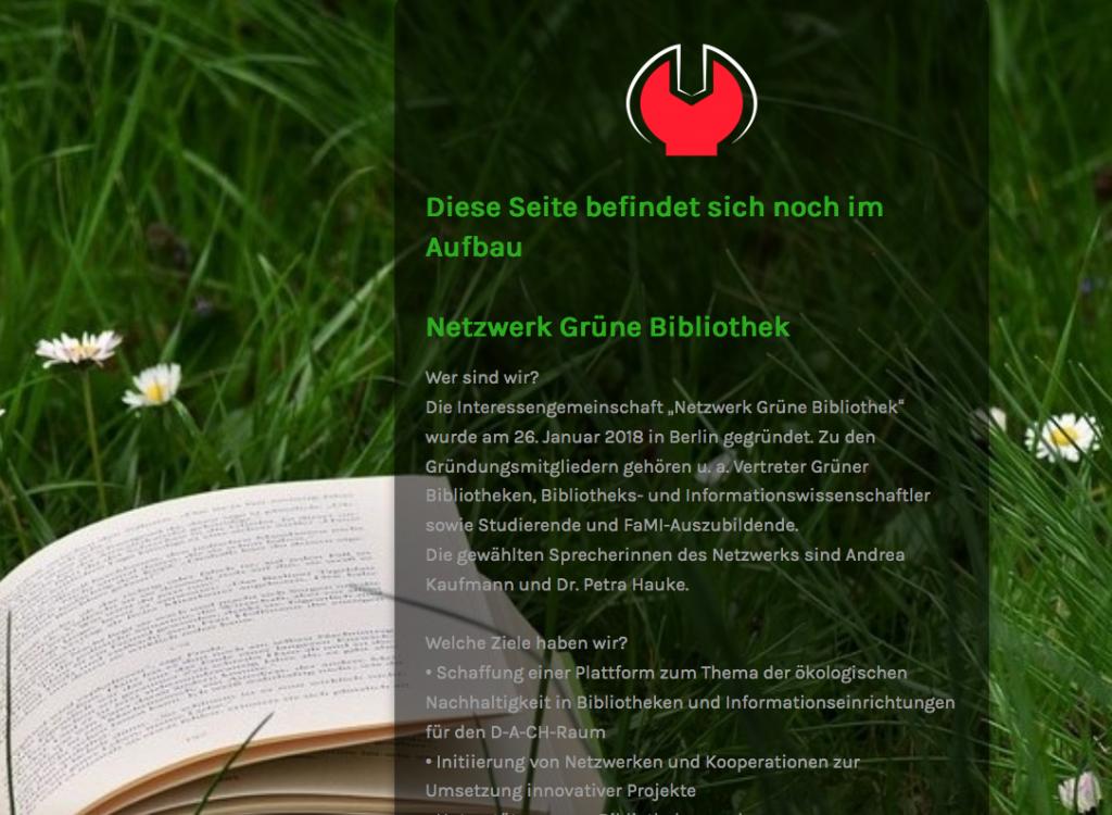 """Screenshot Weblog """"Netzwerk Grüne Bibliothek"""""""