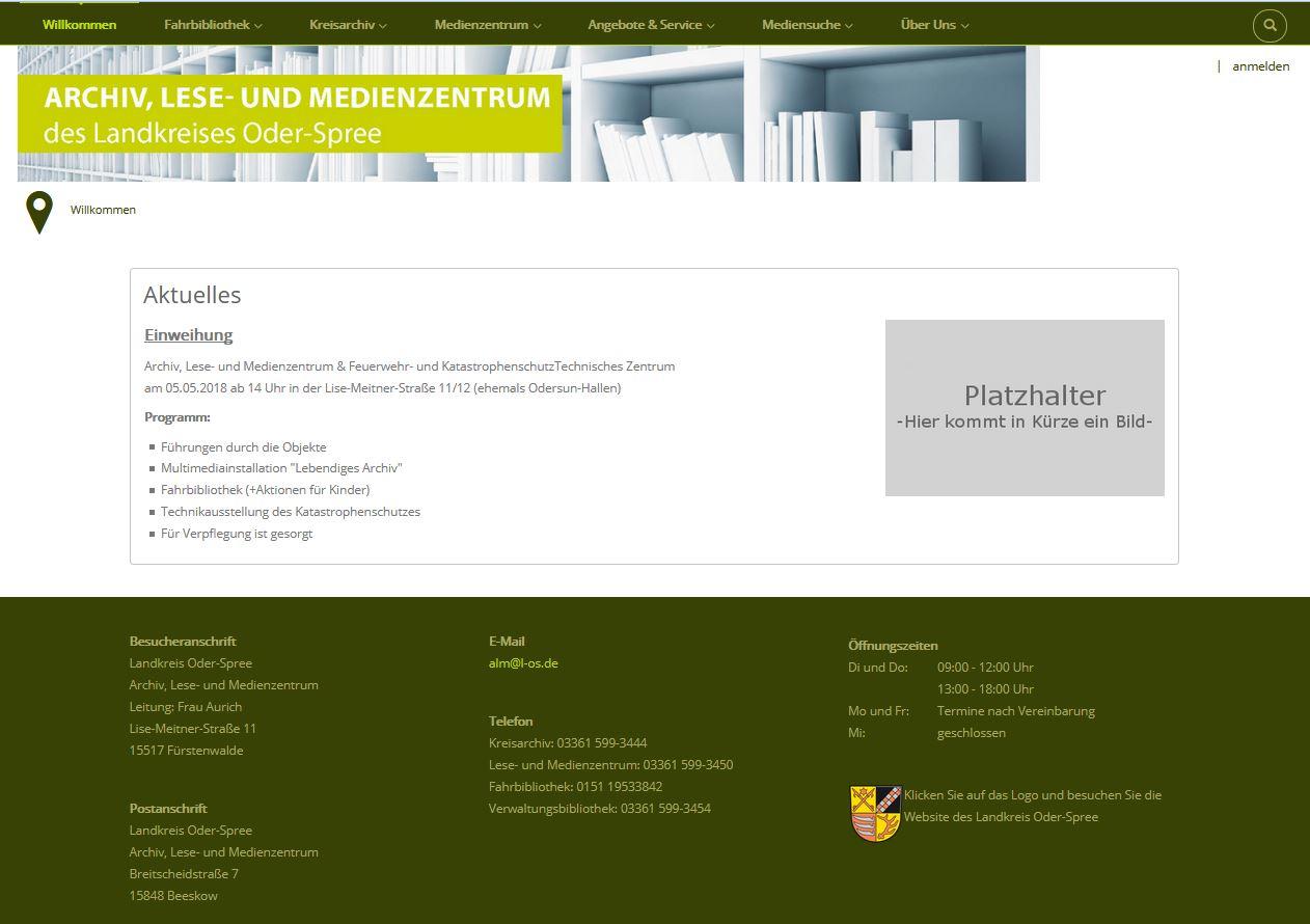 Willkommensseite des künftigen Webautritts des Archiv, Lese- und Medienzentrums Landkreis Oder-Spree