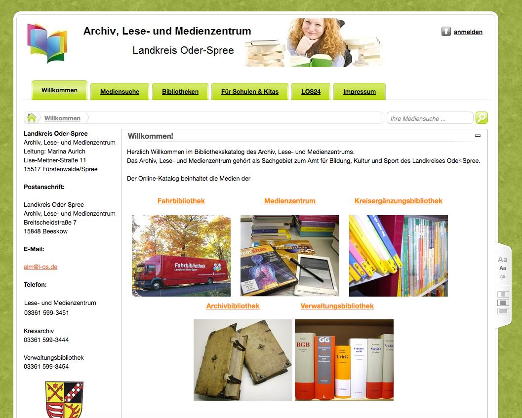 Vor dem Relaunch: Aktueller Webautritt des Archiv, Lese- und Medienzentrums Landkreis Oder-Spree