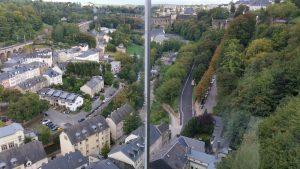 Gläserner Aufzug, schnellste Verbindung von Oberstadt zur Unterstadt, hier das Pfaffental,Stadtführung Luxemburg, Stadtführung Luxemburg