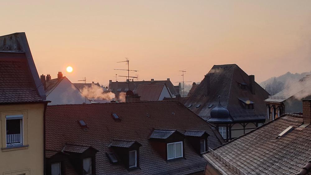Sonnenaufgang am Obstmarkt in Bamberg