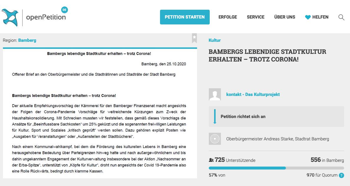 Screenshot Online-Petition gegen Schließung Zweigstellenbibliotheken Bamberg