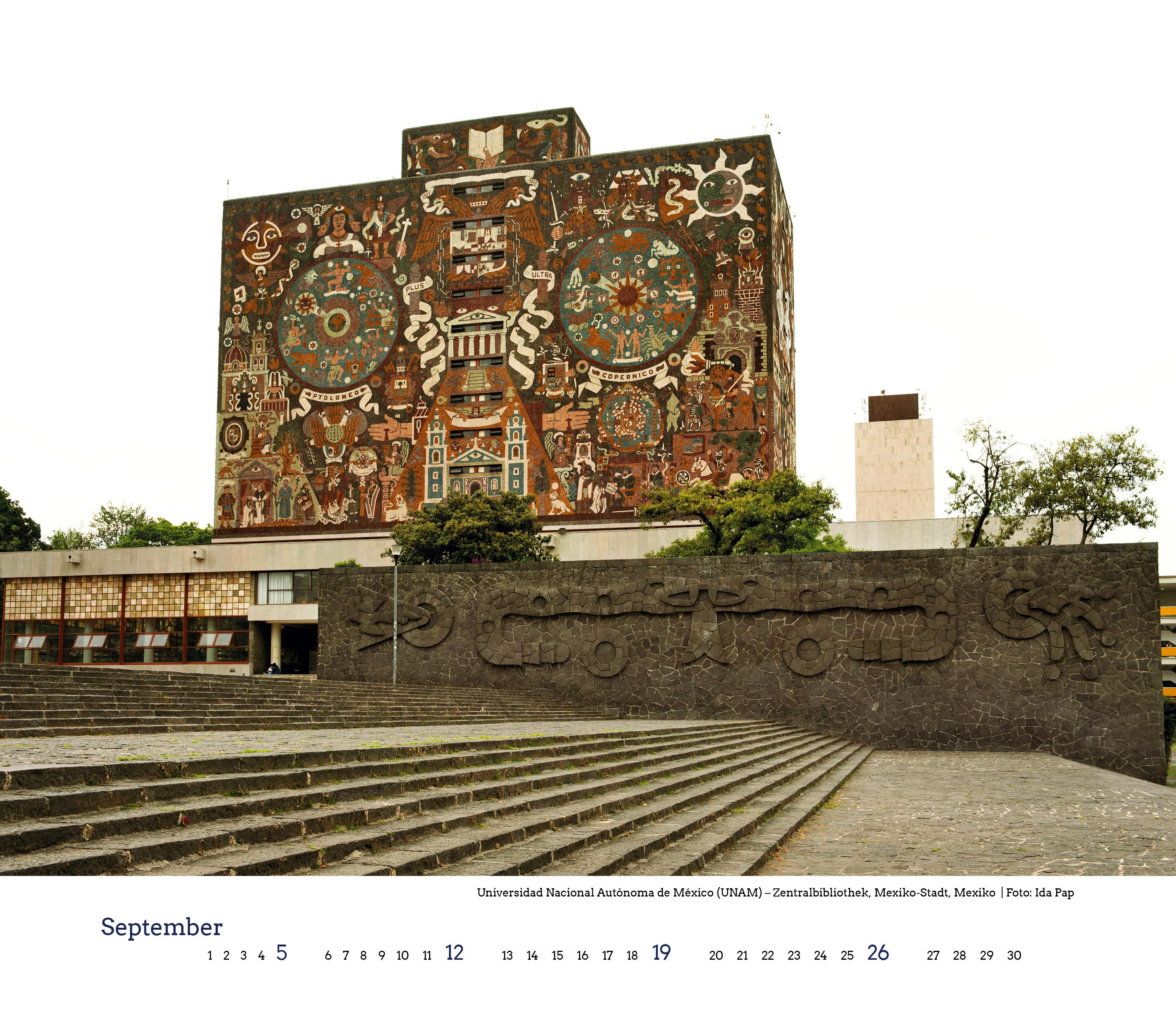 "Universidad Nacional Autónoma de México (UNAM),, Kalenderblatt ""Blickwinkel Bibliothek"" 2021"